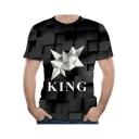 Men's Hot Popular 3D Geometric Simple Letter KING Plaid Printed Round Neck Short Sleeve Black T-Shirt