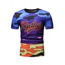 Men's Summer New Stylish TOGETHER Letter Camouflage Print Short Sleeve Round Neck Casual T-Shirt