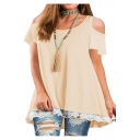 Womens Solid Color Basic Round Neck Cold Shoulder Short Sleeve Lace-Trim Loose Casual T-Shirt