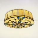 Round Living Room Flush Light Stained Glass Tiffany Style Vintage Overhead Light