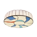 Stained Glass Round Ceiling Lamp Hand Made Simple Style Flush Ceiling Light in White for Foyer