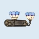Bowl Bathroom Hallway Wall Light Stained Glass 2 Lights Tiffany Style Sconce Light