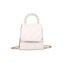 Fashion Solid Color Pearl Top Handle Quilted Crossbody Bag 12*8*12 CM