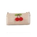 Summer Fashion Cherry Embellishment Straw Crossbody Bag 18*10*11 CM