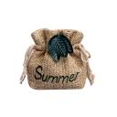 Summer Fashion Letter Embroidery Leaves Decoration Straw Drawstring Crossbody Bag 15*6*18 CM