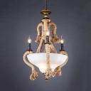 Rustic Style Candle Chandelier with Rope 6 Lights Marble Suspension Light in White for Bar