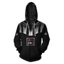 Star Wars Comic 3D Printed Long Sleeve Zip Up Casual Loose Black Drawstring Hoodie