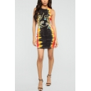 Fashion Tie Dye Tiger Print Round Neck Sleeveless Mini Tank Dress