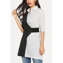Women's Hot Sale Half Sleeve Collared Color Block Striped Printed Mini Shirt Black And White Dress