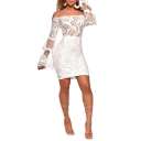 Women's Unique Off the Shoulder Long Sleeve Plain Print Lace Patch Mesh Detail Slim Fit Mini Bodycon Nightclub Dress
