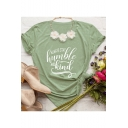Simple Arrow Letter HUMBLE AND KIND Print Short Sleeve Cotton Tee