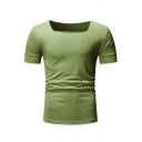 Men's Fashion Square Neck Short Neck Solid Color Fitted T-Shirt