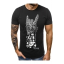 Hot Fashion Hand Pattern Short Sleeve Round Neck Casual T-Shirt for Men