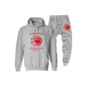 Popular TARGARYEN Dragon Badge Print Hoodie Loose Fit Sweatpants Two-Piece Set