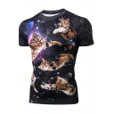 Unique Men's Galaxy Cat 3D Print Round Neck Short Sleeve Black Fitted Stretch T-Shirt