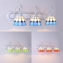 Blue/Green/Orange Cone Wall Light 3 Lights Tiffany Style Stained Glass Sconce Light for Hallway