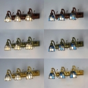 3 Lights Cone Wall Light Antique Style Blue/White Glass Sconce Light for Bathroom Hallway