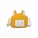 Cute Cartoon Animal Shape Colorblock Canvas Crossover Shoulder Bag 19.5*7*17.5 CM