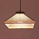 Fabric Square Pendant Lighting Contemporary Single Head hanging Lamp in White/Coffee for Cafe