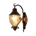 Antique Wall Light Fixture Wavy Glass and Metal Single Light Rust Wall Light for Kitchen
