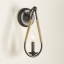 Industrial Candle Shape Wall Light Metal and Rope Single Light Sconce Light in Black