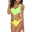 Sexy Yellow Sleeveless Tied Front Hollow Out One Piece Swimwear