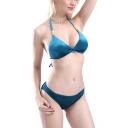 Women's New Arrival Halter Neck Velvet Simple Plain Bikini Swimwear