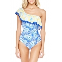 Stylish Ethnic Floral Printed Ruffle Hem One Shoulder Blue One Piece Swimsuit for Women