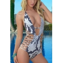Womens Sexy Snake Scale Printed Halter Plunged Neck Strappy Hollow Out White One Piece Swimsuit