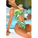 Summer Fashion Leaf Printed Knotted Cut Out High Leg Green One Piece Swimsuit Swimwear for Women