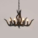 ntique Style Candle Chandelier with Deer Horn 6 Lights Resin Hanging Light in Black for Dining Room