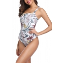 Summer Fashion Tropical Leaf Floral Printed Square Neck One Piece Swimsuit