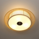 Wood/Black Round Ceiling Light 3/4 Lights Contemporary Bamboo Flush Mount Light for Dining Room Foyer