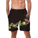 Summer Funny Unique Fruit Pattern Mens Elastic Waist Black Beach Swim Shorts