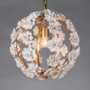 Living Room Globe Chandelier Lamp Metal Single Light Gold/Silver Pendant Light with Flower Decoration