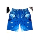 Mens Summer Blue Cartoon Fish Printed Beach Casual Loose Quick Dry Swim Shorts