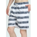 Men's Basic Simple Stripe Printed Drawstring Waist Loose Fit Swimming Trunks with Liner