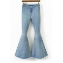 Women's Simple Solid Color Stretch Fit Fashion Flare Jeans