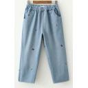 Girls Lovely Simple Embroidery Elastic Waist Light Blue Wide-Leg Jeans