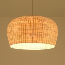Single Light Dome Shape Ceiling Light Rustic Rattan Pendant Lighting in White for Dining Room