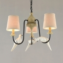 Tapered Shade Chandelier 3/6 Lights Rustic Style Hanging Lamp with Bird Decoration for Living Room