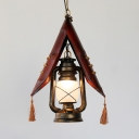 Antique Bronze Lantern Hanging Light with Tassel and Hanging Chain Vintage Asian Frosted Glass Pendant Lighting