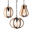 Wood Ceiling Pendant Dining Room Single Light Vintage Style Globe/Melon Hanging Light