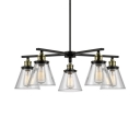 Clear Glass Cone Chandelier 5 Lights Industrial Ceiling Pendant Light in Aged Brass