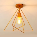 Metal Frame Semi Flush Mount Light with Triangle Shade One Light Industrial Ceiling Light in Gold