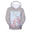 New Fashion Floral Pattern Long Sleeve Grey Pullover Hoodie