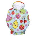 Lovely Cartoon Fruit Pattern Long Sleeve Loose Fit Hoodie in Green