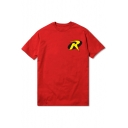 Simple Letter R Printed Short Sleeve Red T-Shirt