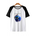 Hot Fashion Funny Figure Earth Print Colorblock Short Sleeve Unisex Relaxed T-Shirt