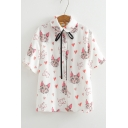 Lovely Cartoon Cat Heart Printed Short Sleeve Tied Collar White Button Down Shirt